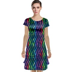 Colorful Lines Cap Sleeve Nightdress