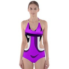 Halloween   Purple Frankenstein Cut Out One Piece Swimsuit by Valentinaart