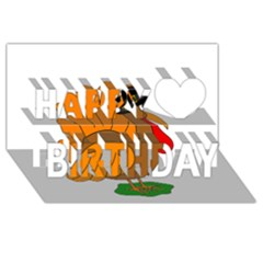Thanksgiving Turkey   Transparent Happy Birthday 3d Greeting Card (8x4) by Valentinaart