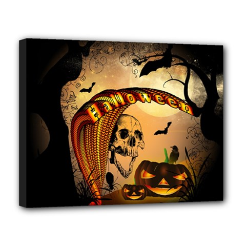 Halloween, Funny Pumpkin With Skull And Spider In The Night Canvas 14  X 11  by FantasyWorld7