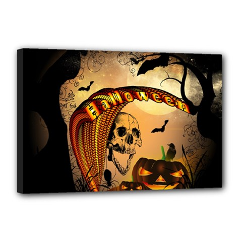 Halloween, Funny Pumpkin With Skull And Spider In The Night Canvas 18  X 12  by FantasyWorld7