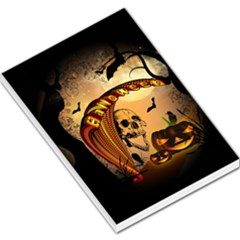 Halloween, Funny Pumpkin With Skull And Spider In The Night Large Memo Pads by FantasyWorld7