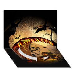 Halloween, Funny Pumpkin With Skull And Spider In The Night Circle Bottom 3d Greeting Card (7x5) by FantasyWorld7
