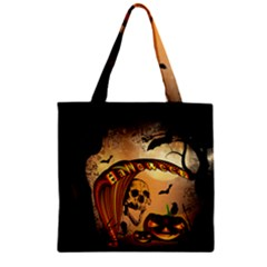 Halloween, Funny Pumpkin With Skull And Spider In The Night Zipper Grocery Tote Bag by FantasyWorld7
