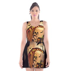 Halloween, Funny Pumpkin With Skull And Spider In The Night Scoop Neck Skater Dress by FantasyWorld7