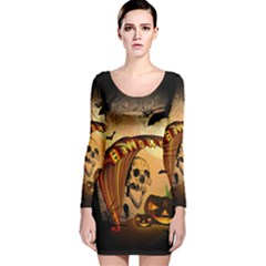 Halloween, Funny Pumpkin With Skull And Spider In The Night Long Sleeve Velvet Bodycon Dress by FantasyWorld7