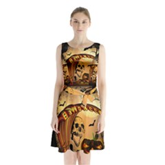 Halloween, Funny Pumpkin With Skull And Spider In The Night Sleeveless Chiffon Waist Tie Dress by FantasyWorld7
