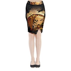 Halloween, Funny Pumpkin With Skull And Spider In The Night Midi Wrap Pencil Skirt by FantasyWorld7