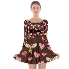 Honey Bee Love Bees Long Sleeve Skater Dress by BubbSnugg