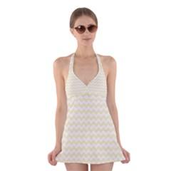 Chevron Sand Halter Swimsuit Dress