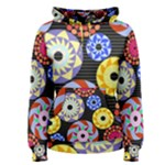 Colorful Retro Circular Pattern Women s Pullover Hoodie
