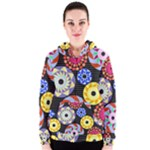 Colorful Retro Circular Pattern Women s Zipper Hoodie