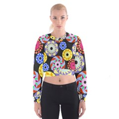 Colorful Retro Circular Pattern Women s Cropped Sweatshirt