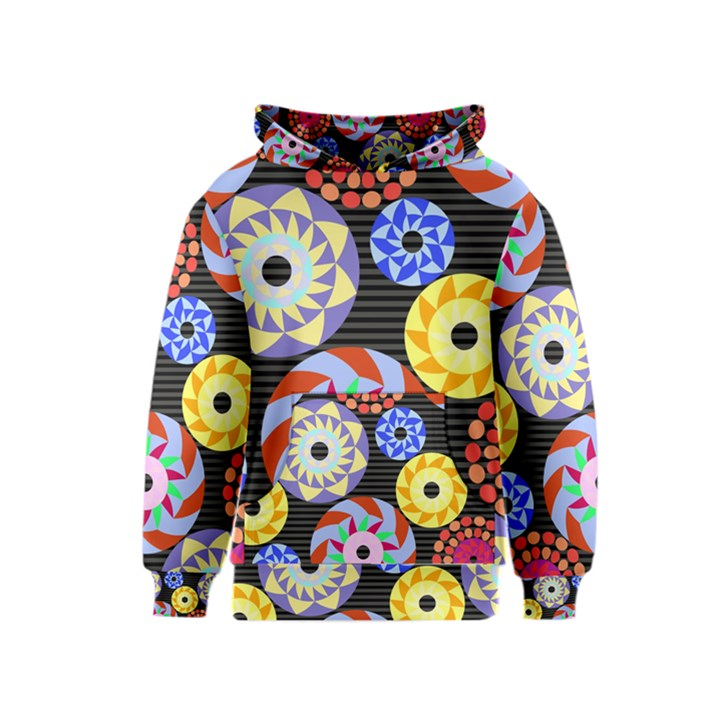 Colorful Retro Circular Pattern Kids  Pullover Hoodie