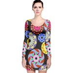 Colorful Retro Circular Pattern Long Sleeve Velvet Bodycon Dress