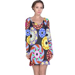Colorful Retro Circular Pattern Long Sleeve Nightdress