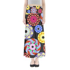 Colorful Retro Circular Pattern Women s Maxi Skirt