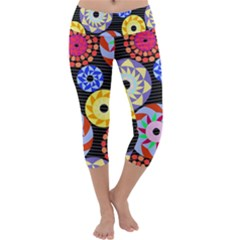Colorful Retro Circular Pattern Capri Yoga Leggings by DanaeStudio