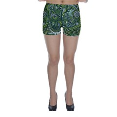 Green Boho Flower Pattern Zz0105  Skinny Shorts by Zandiepants