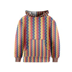 Colorful Chevron Retro Pattern Kids  Pullover Hoodie by DanaeStudio