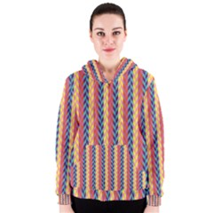 Colorful Chevron Retro Pattern Women s Zipper Hoodie by DanaeStudio