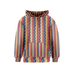 Colorful Chevron Retro Pattern Kids  Zipper Hoodie by DanaeStudio