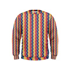 Colorful Chevron Retro Pattern Kids  Sweatshirt by DanaeStudio