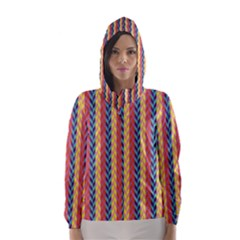 Colorful Chevron Retro Pattern Hooded Wind Breaker (women) by DanaeStudio
