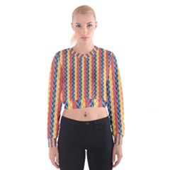 Colorful Chevron Retro Pattern Women s Cropped Sweatshirt by DanaeStudio
