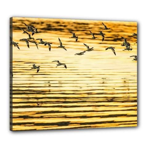 Birds Leaves Canvas 24  X 20  (framed)