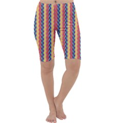 Colorful Chevron Retro Pattern Cropped Leggings  by DanaeStudio