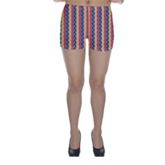 Colorful Chevron Retro Pattern Skinny Shorts by DanaeStudio