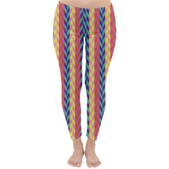 Colorful Chevron Retro Pattern Winter Leggings  by DanaeStudio