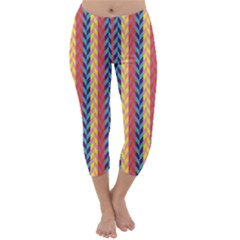 Colorful Chevron Retro Pattern Capri Winter Leggings  by DanaeStudio