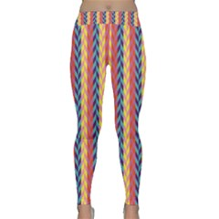 Colorful Chevron Retro Pattern Yoga Leggings  by DanaeStudio