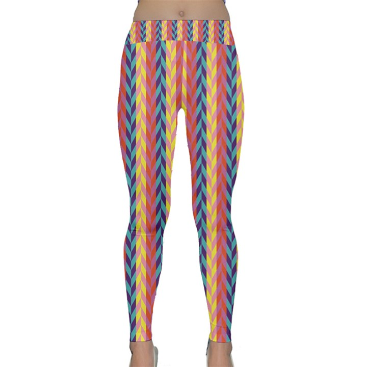 Colorful Chevron Retro Pattern Yoga Leggings