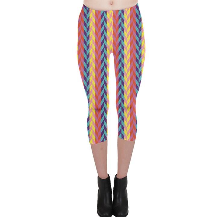 Colorful Chevron Retro Pattern Capri Leggings