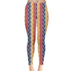 Colorful Chevron Retro Pattern Leggings  by DanaeStudio