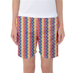 Colorful Chevron Retro Pattern Women s Basketball Shorts by DanaeStudio