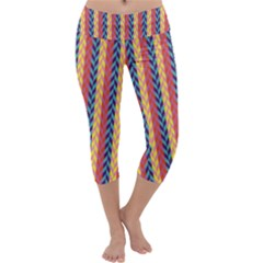 Colorful Chevron Retro Pattern Capri Yoga Leggings