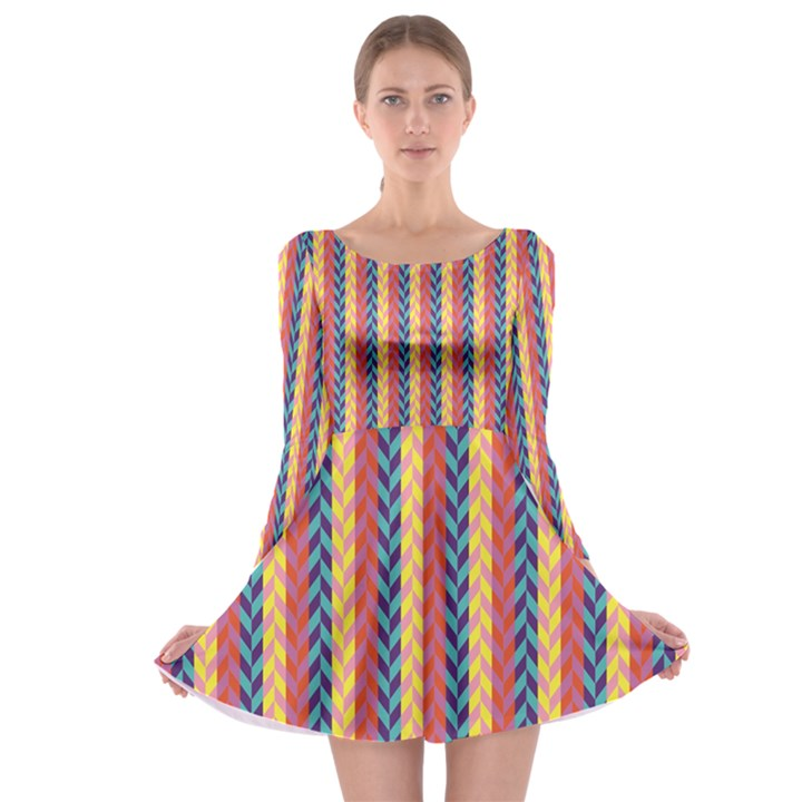 Colorful Chevron Retro Pattern Long Sleeve Skater Dress