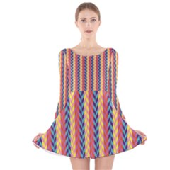 Colorful Chevron Retro Pattern Long Sleeve Velvet Skater Dress by DanaeStudio