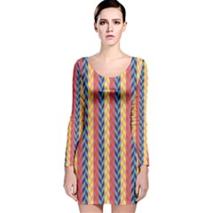 Colorful Chevron Retro Pattern Long Sleeve Velvet Bodycon Dress by DanaeStudio