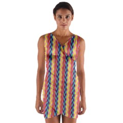 Colorful Chevron Retro Pattern Wrap Front Bodycon Dress