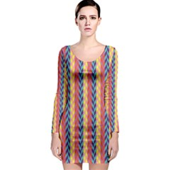 Colorful Chevron Retro Pattern Long Sleeve Bodycon Dress by DanaeStudio