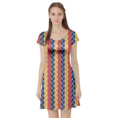 Colorful Chevron Retro Pattern Short Sleeve Skater Dress by DanaeStudio