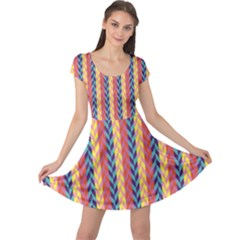 Colorful Chevron Retro Pattern Cap Sleeve Dress by DanaeStudio