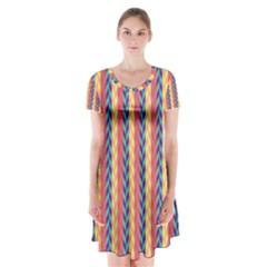 Colorful Chevron Retro Pattern Short Sleeve V Neck Flare Dress