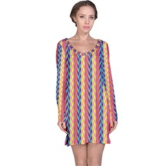Colorful Chevron Retro Pattern Long Sleeve Nightdress by DanaeStudio