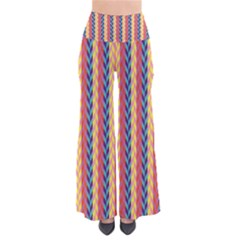 Colorful Chevron Retro Pattern Women s Chic Palazzo Pants  by DanaeStudio